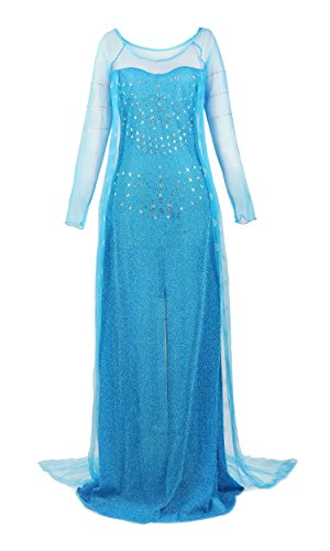 Halloween 2017 Disney Costumes Plus Size & Standard Women's Costume Characters - Women's Costume Characters Princess Elsa Sequin Dress Up Costume - Size Small to 3x (standard to Plus size)