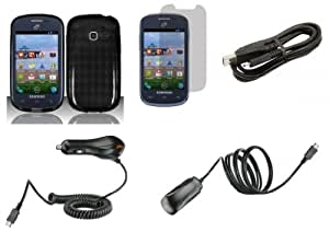 Samsung Galaxy Centura S738C (Straight Talk, Net10, Tracfone) Accessory Combo Kit - Black Argyle Flexible TPU Case + ATOM LED Keychain Light + Screen Protector + Wall Charger + Car Charger + Micro USB Cable