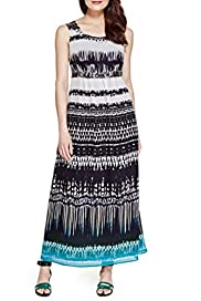 Beaded Neckline Maxi Dress [T62-6689J-S]