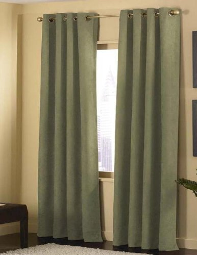Hot Hot Hot Sale 4 Pieces Micro Suede Grommet Top Lined Panel Window Curtain Set Green Inexpensive Salebambo422