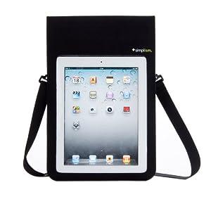 Simplism iPad、iPad 2対応 完全防水ケース 肩掛けストラップ 吸盤フック スタンド付属 TR-WPCIPD2-BK