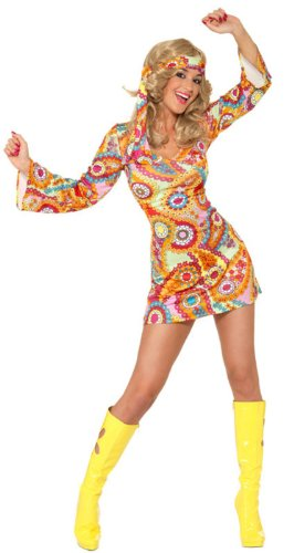 Smiffy's Women's 1960's Hippy Costume with Dress and Headband