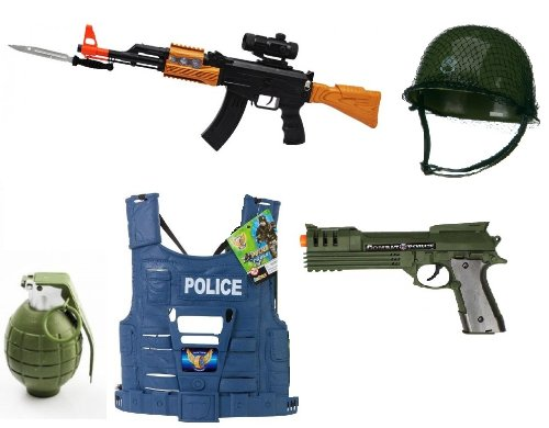 Battery Operated Ak-47 Toy Gun With Bayonet Battery Operated Toy Gun For Kids, Army Helmet, Blowback Realistic Battery Robocop Pistol, Police Vest, Battey Operated Removable Pin Toy Grenade