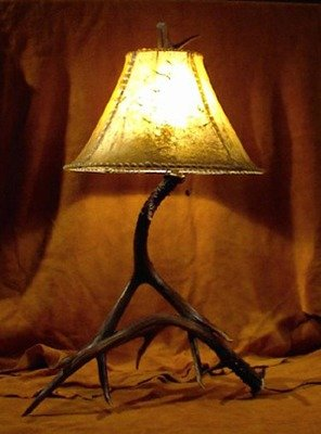 real mule deer 2 antler table lamp w rawhide shade brown amazon