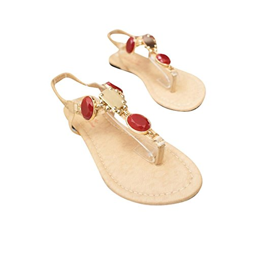 jeansian Moda Donna Gemstone Boemia Spiaggia Sandali Sandals WSB001 Beige & Red 36