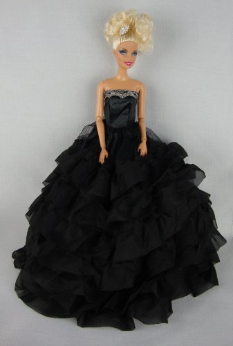 Beautiful Black Dress with Lots of Ruffles Made to Fit the Barbie Doll - 1