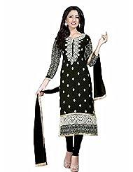 Trendz Apparels Black 60 Gm Georgette Straight Fit Salwar Suit - B016BY5B8O
