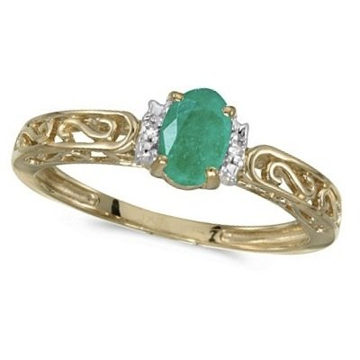 Oval Emerald and Diamond Filigree Antique Style Ring 14k Yellow Gold