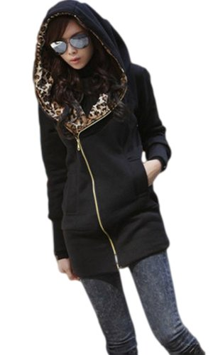 Jungbei Women's Leopard Print Long Sleeve Jackets Zipper Outerwear