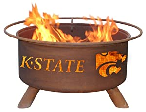 Kansas State University Portable Steel Fire Pit Grill by Patina