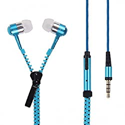 Spider Designs-3.5mm zip Bomb Base Microphone enbuilt Premium tangle free Zipper Earphone - Blue