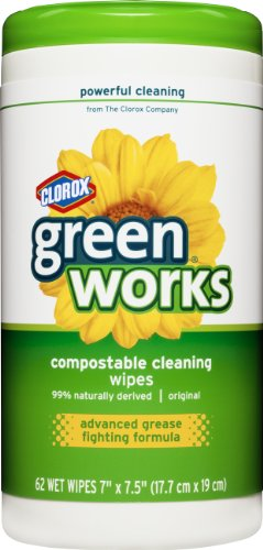 Green Works Compostable Cleaning Wipes, Original, 62 Count (Pack of 6)