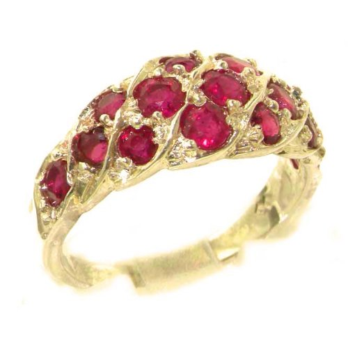 Luxury Ladies Solid 9ct Gold Vibrant Ruby Band