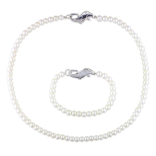 Sterling Silver Parrot Clasp Freshwater Cultured Pearl Baby Necklace and Bracelet Set, 14