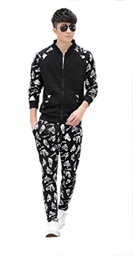 Tm Mens Womens Casual Skull Sport Zipper Hoodies Jackets+Pants Suit Autumn Black