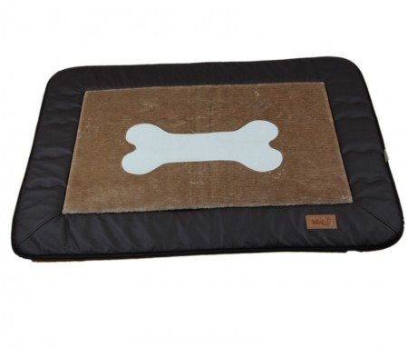 Artikelbild: Hundedecke Relax Sky Kunstleder Braun, 80x110cm, Liegefläche Braun mit Knochenmotiv, gepolstert, waschbar