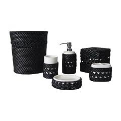 Bathroom Accessories Set Black And White Decor