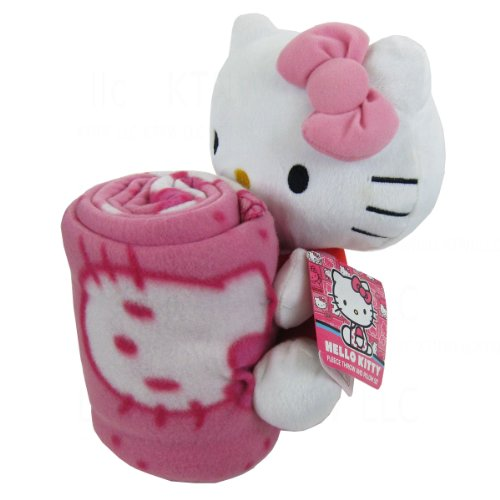 Officially Licensed Fleece Throw Blanket And Stuffed Character Plush Pillow - Pink Hello Kitty