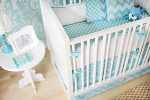 New Arrivals Zig Zag Baby 4 Piece Crib Bedding Set, Aqua