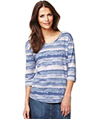 Indigo Collection Wave Striped T-Shirt with Modal