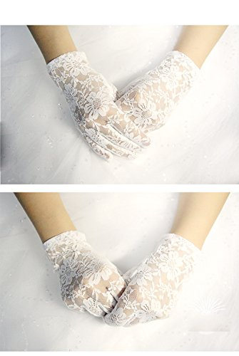 Linabridal Women's Vintage Sheer Floral Lace Wrist Length Wedding Gloves YT026WT-White