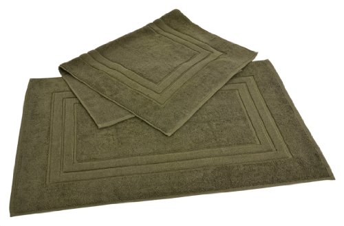 Calcot Growers Collection 100-Percent Zero-Twist Supima Cotton 2-Piece Bath Mat Set, Moss Green