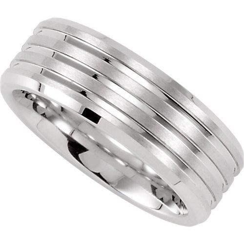 Cobalt Chrome, Satin Wedding Band with Polished Grooves (sz 12)