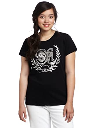 Southpole Juniors Plus-Size Embroidered Foil Logo T-Shirt, Black, X-Large