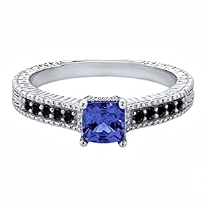 0.76 Ct Black Diamond & Natural Genuine VS Tanzanite 925 Sterling Silver Ring