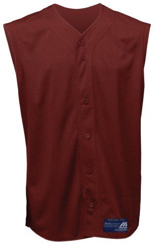 Mizuno Boy's Full Button Mesh Short Sleeve Baseball Jersey, Cardinal, Large - 1