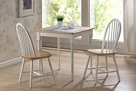 3pc Breakfast Table and Chairs Set with Tile Top in White/ Natural Finish