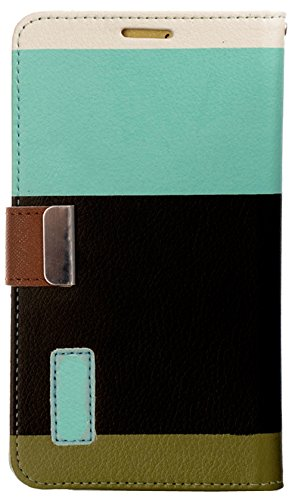 Mylife Celeste Blue And Dark Brown {Colorful Fashion Design} Faux Leather (Card, Cash And Id Holder + Magnetic Closing) Slim Wallet For Galaxy Note 3 Smartphone By Samsung (External Textured Synthetic Leather With Magnetic Clip + Internal Secure Snap In C