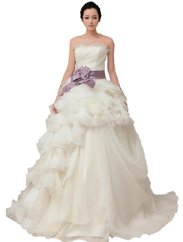 Roselin Women'S Long White Strapless Ruffles Floral Wedding Dress 6 White