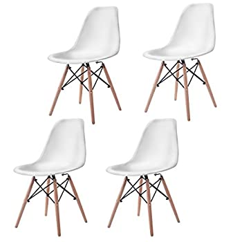 Giantex Set of 4 Mid Century Modern Style DSW Dining Chair Side Wood Leg (White)