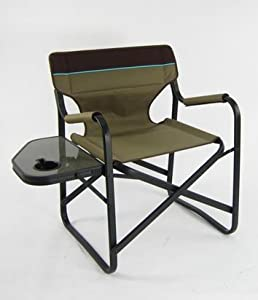 Onway Aluminum Portable Folding Deck Chair with Side Table (Brown)