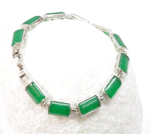 Rectangle cut jade and silver bracelet