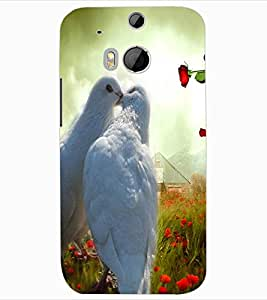 ColourCraft Love Pigeons Design Back Case Cover for HTC ONE M8