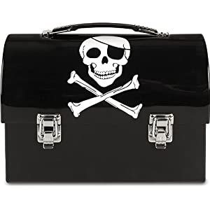 Black jolly roger PIRATE DOME LUNCH BOX skull and crossbones domed lid metal lunchbox collectible collectable