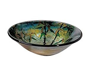 ... Tempered Glass Green Bamboo Vessel Sink Bowl A159 - - Amazon.com