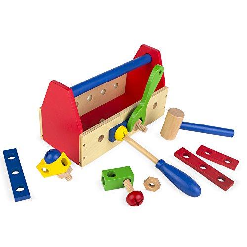 ColorBaby - Caja de herramientas, madera, 18 piezas (42751)