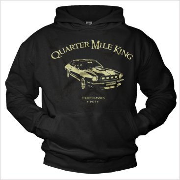 Vintage Hoodies for men 1975 Mustang Hooded Sweatshirt Black Size XXL