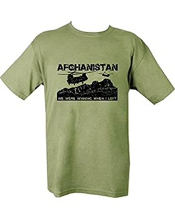 Kombat Mens Military Printed Army Combat Taliban Afghanistan Hunting Club Chinook Helicopter Iraq Camo T-shirt (Small = Chest 86-91cm or 34-36 inch)