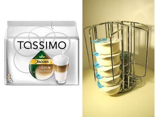 Tassimo Jacobs Krönung Latte Macchiato 1 Packung + + der passende Mini Tower Kapselhalter,Kapselständer mit Spezial Schacht für die grossen Milchkapseln + Verwöhnkanne T-Disc und kleinen T-Disc Ständer + zusätzlichen einen Schokostreuer aus Glas von James Premium®