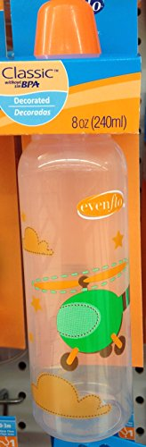 Evenflo classic Customflow Nipple bottle #1 0-3M baby slow flow without sin BPA 8oz (240ML)- Design may very - 1