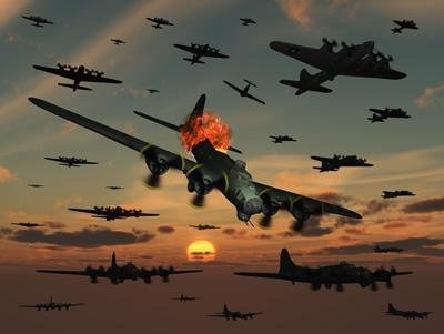 A B-17 Flying Fortress Is Set Ablaze by a German Interceptor Fighter Plane Wall Decal - 18 Inches W x 14 Inches H - Peel and Stick Removable Graphic