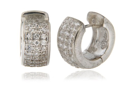 Silver E3395 Pave Set Cubic Zirconia Huggie Earrings