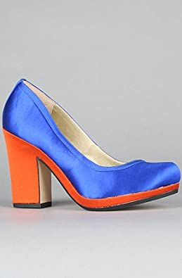Seychelles The Montreal Shoe in Orange and Cobalt Satin,Shoes for Women, 7,Orange & Cobalt