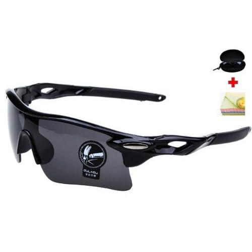 JapaNice スポーツ サングラス 【 自転車 ドライブ ゴルフ ランニング 釣り スキー に 人気 で おしゃれ な 破損防止加工 レンズ 採用 】 『 花粉 花粉症 メガネ にも』 UV400 紫外線 99.9%カット! メガネ ケース + 眼鏡 拭きの嬉しい3点セット! メンズ レディース 兼用 レンズカラー ブラック SP-001B