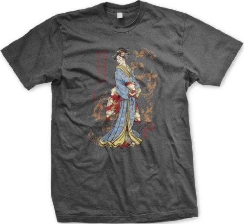 Japanese Geisha Mens Tattoo T-Shirt, Old School Tattoo Style Design Mens Geisha Shirt, Large, Charcoal