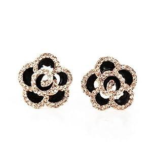 Beauty Info(TM) Fashion All-Match Black Rose Flower Rhinestone Stud Earrings Charm Jewelry